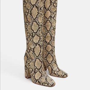Zara Shoes - Zara snake print heeled tall boots sz 38/7.5